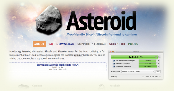 Asteroid - Bitcoin and Litecoin Mining for Mac