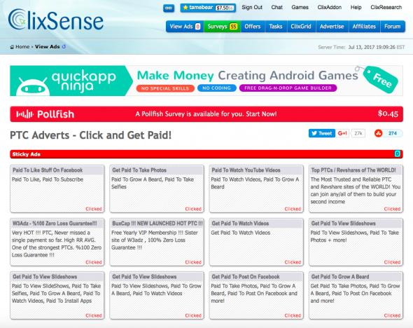 Goodbye ClixSense PTC - only surveys, tasks, and offers.